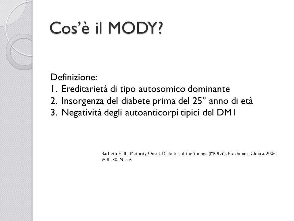 Cos'è il MODY Definizione: Ereditarietà di tipo autosomico dominante