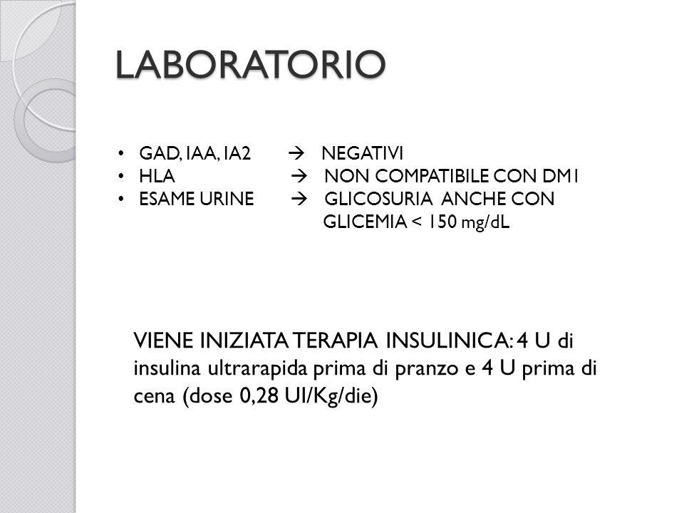 LABORATORIO GAD, IAA, IA2  NEGATIVI. HLA  NON COMPATIBILE CON DM1.