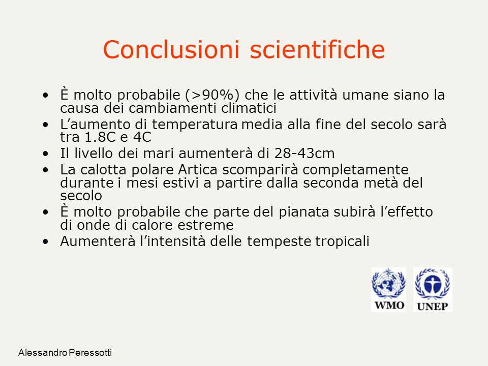 Conclusioni scientifiche
