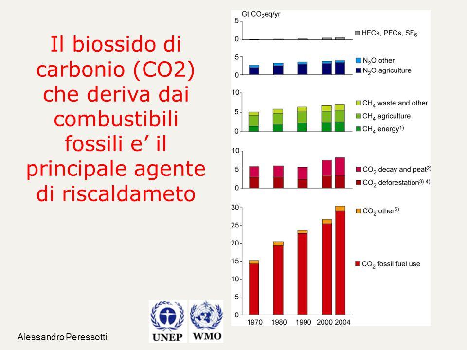 Il biossido di carbonio (CO2) che deriva dai combustibili fossili e' il principale agente di riscaldameto