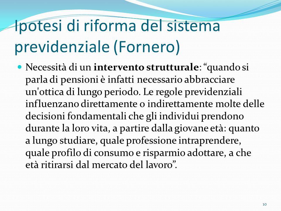 Ipotesi di riforma del sistema previdenziale (Fornero)
