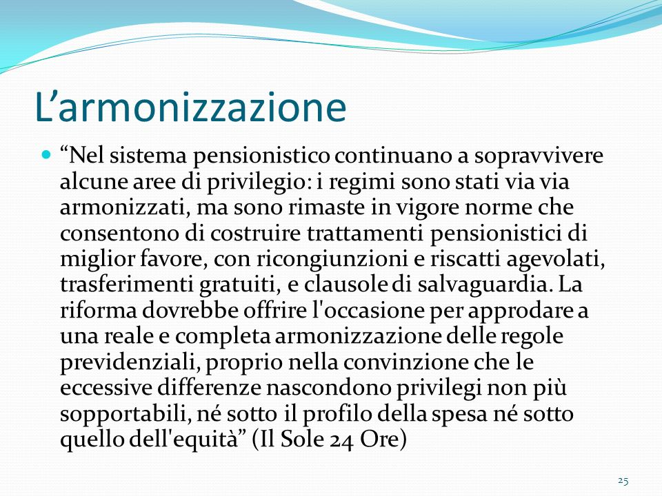 L'armonizzazione