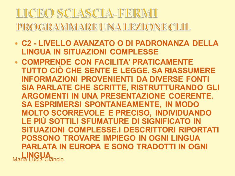 LICEO SCIASCIA-FERMI PROGRAMMARE UNA LEZIONE CLIL