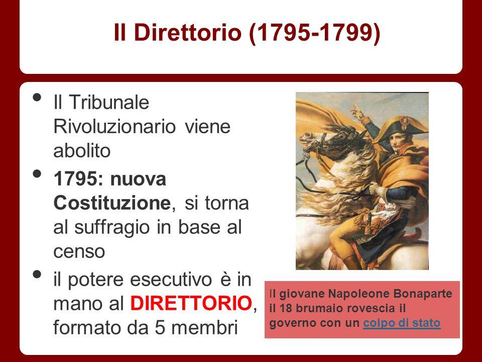 Il Direttorio (1795-1799) Il Tribunale Rivoluzionario viene abolito