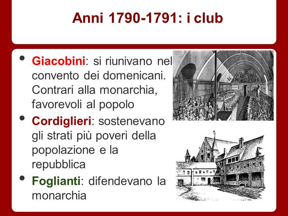 Anni 1790-1791: i club Giacobini: si riunivano nel convento dei domenicani. Contrari alla monarchia, favorevoli al popolo.