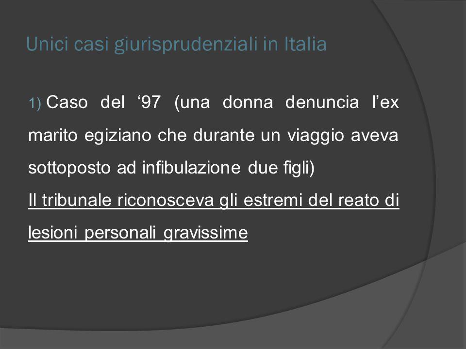 Unici casi giurisprudenziali in Italia