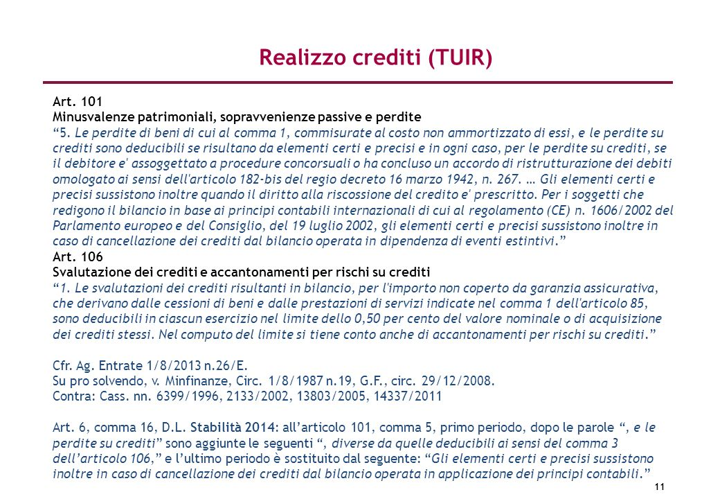 Realizzo crediti (TUIR)