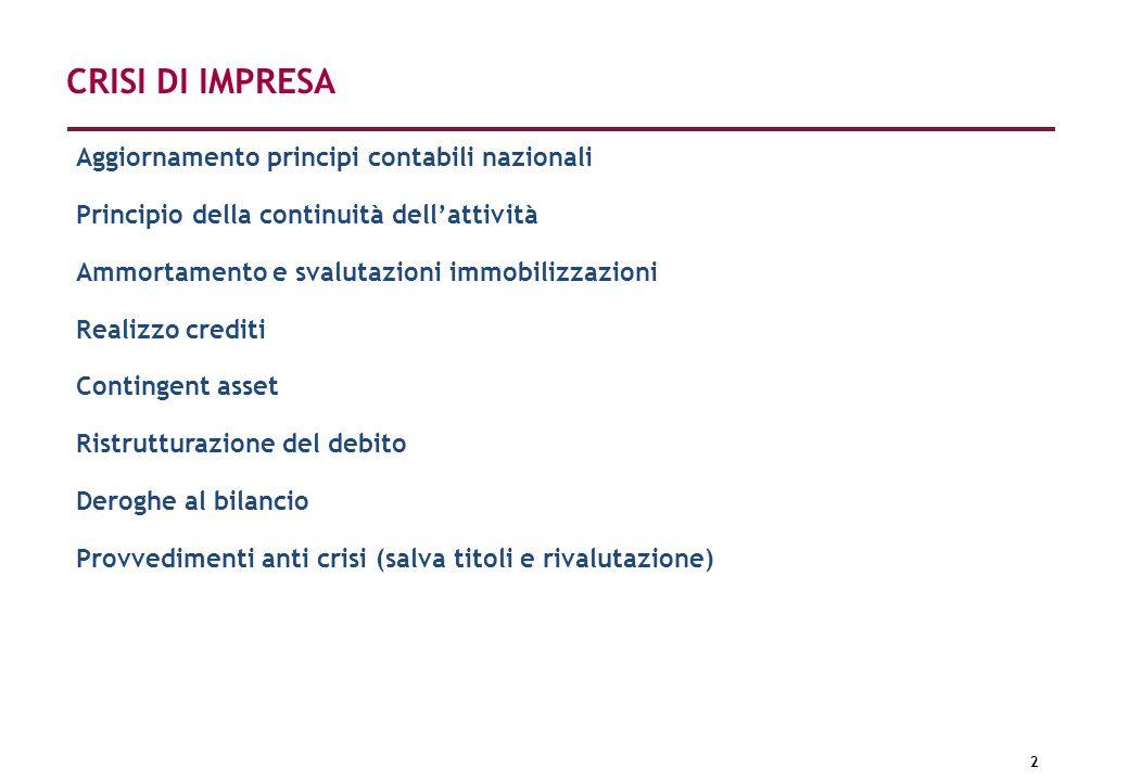 CRISI DI IMPRESA Aggiornamento principi contabili nazionali