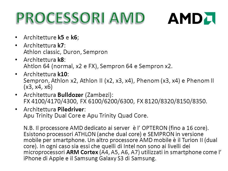 PROCESSORI AMD Architetture k5 e k6;