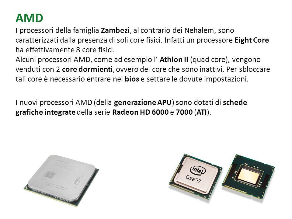 AMD I processori della famiglia Zambezi, al contrario dei Nehalem, sono caratterizzati dalla presenza di soli core fisici. Infatti un processore Eight Core ha effettivamente 8 core fisici. Alcuni processori AMD, come ad esempio l' Athlon II (quad core), vengono venduti con 2 core dormienti, ovvero dei core che sono inattivi. Per sbloccare tali core è necessario entrare nel bios e settare le dovute impostazioni.