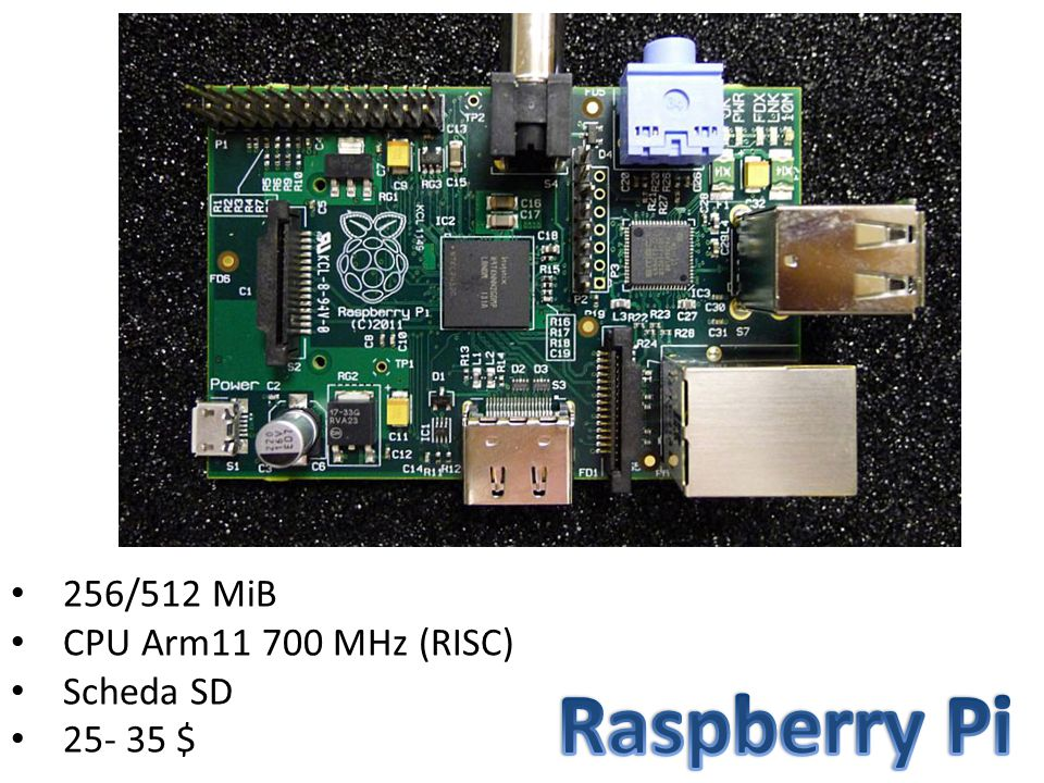 256/512 MiB CPU Arm11 700 MHz (RISC) Scheda SD 25- 35 $ Raspberry Pi