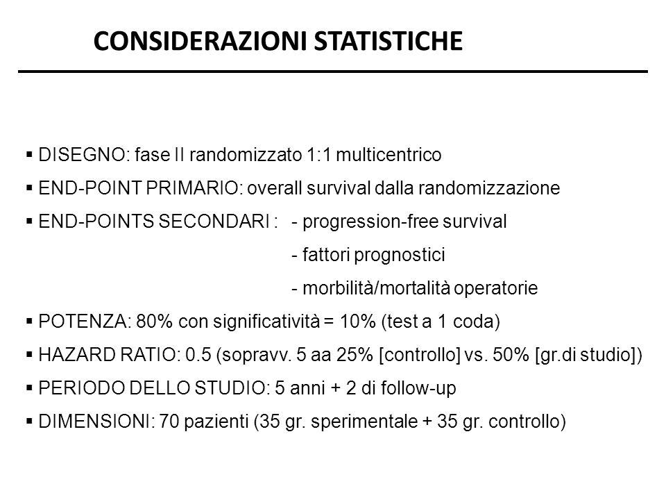 CONSIDERAZIONI STATISTICHE