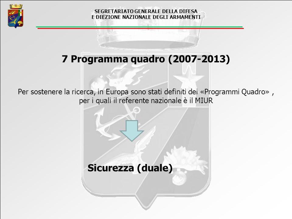 7 Programma quadro (2007-2013) Sicurezza (duale)