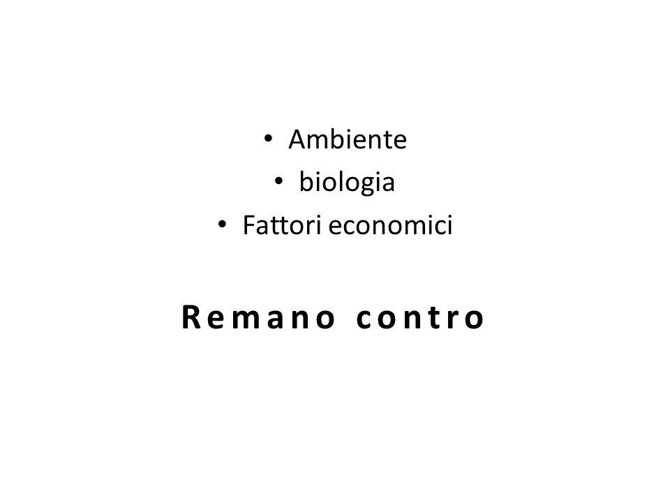 Ambiente biologia Fattori economici Remano contro