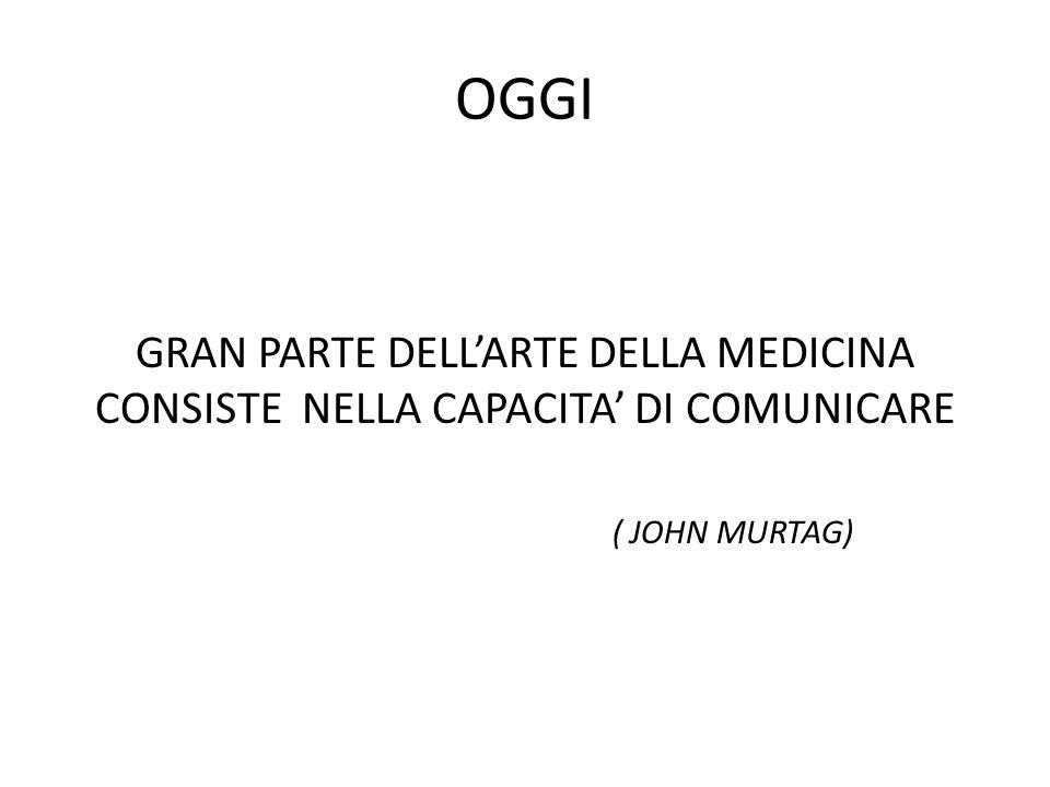 OGGI GRAN PARTE DELL'ARTE DELLA MEDICINA CONSISTE NELLA CAPACITA' DI COMUNICARE.