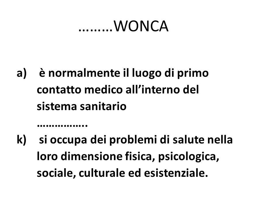 ………WONCA è normalmente il luogo di primo