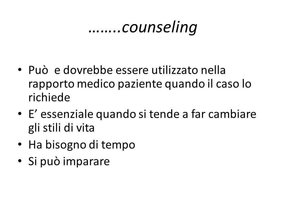 ……..counseling Può e dovrebbe essere utilizzato nella rapporto medico paziente quando il caso lo richiede.