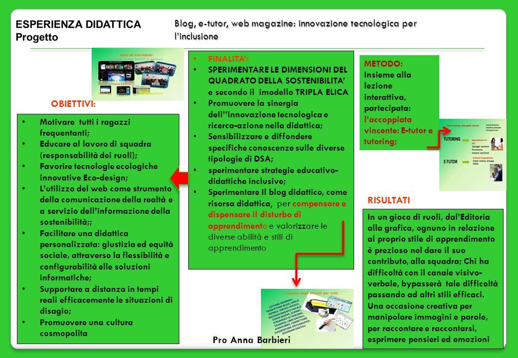 Blog, e-tutor, web magazine: innovazione tecnologica per l'inclusione