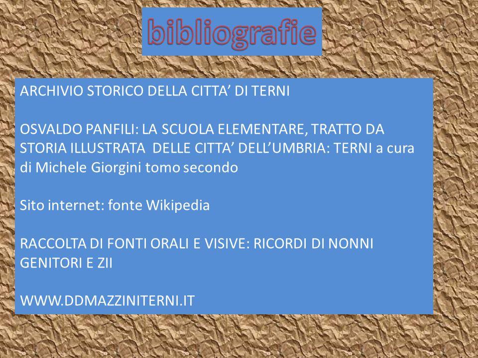 bibliografie ARCHIVIO STORICO DELLA CITTA' DI TERNI