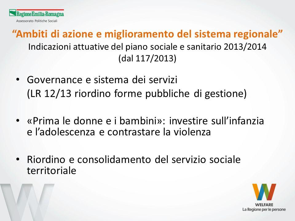 Ambiti di azione e miglioramento del sistema regionale Indicazioni attuative del piano sociale e sanitario 2013/2014 (dal 117/2013)