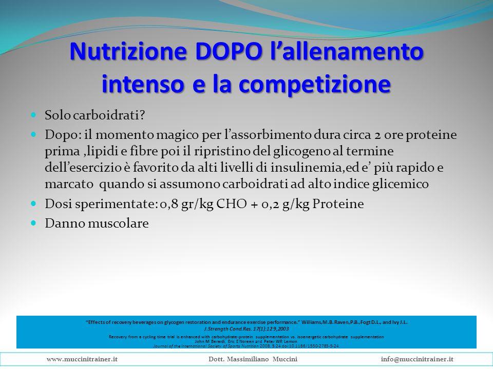 Nutrizione DOPO l'allenamento intenso e la competizione