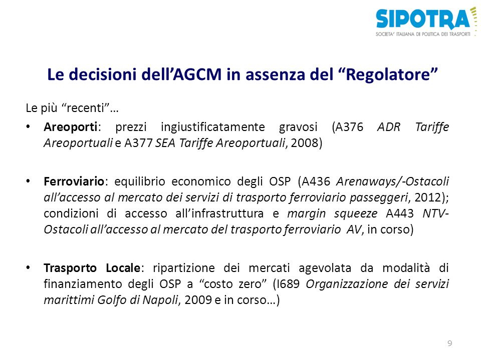 Le decisioni dell'AGCM in assenza del Regolatore