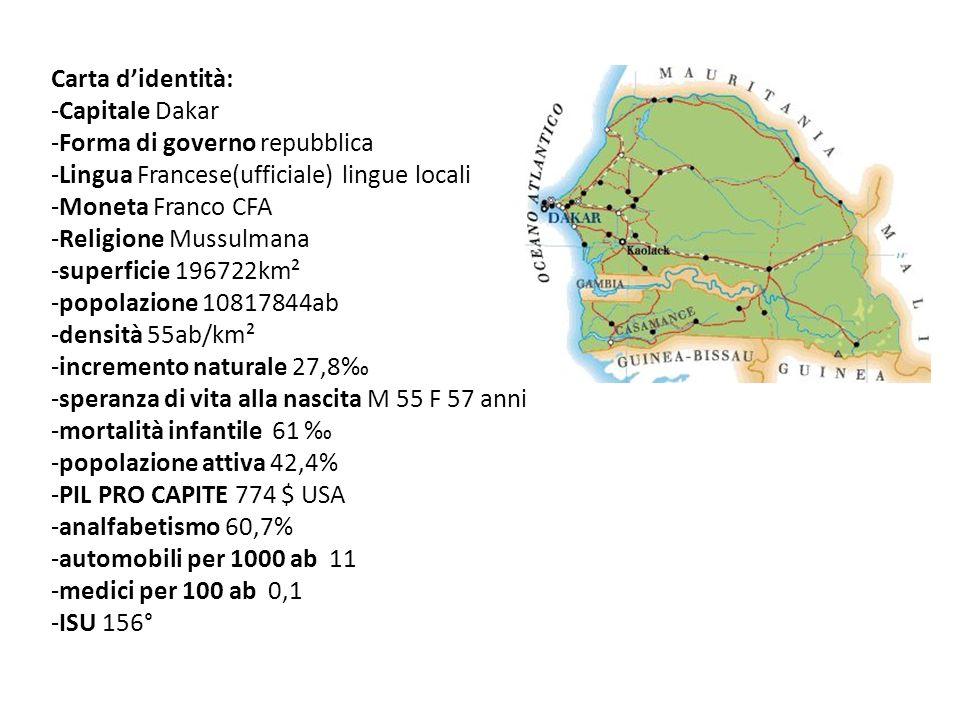 Carta d'identità: -Capitale Dakar. -Forma di governo repubblica. -Lingua Francese(ufficiale) lingue locali.