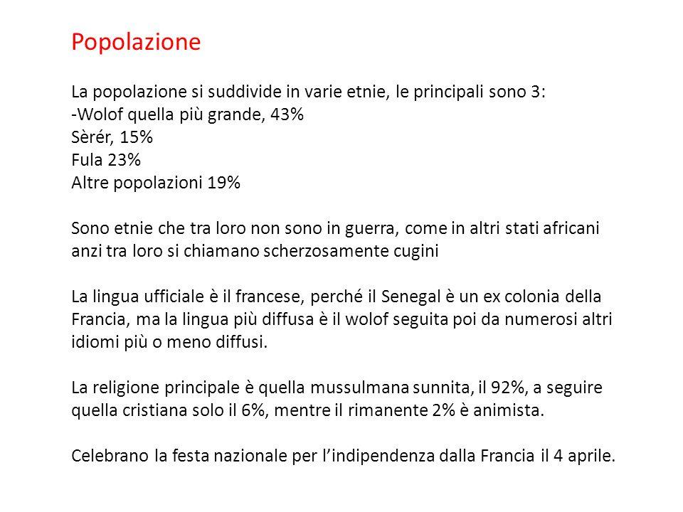 Popolazione La popolazione si suddivide in varie etnie, le principali sono 3: -Wolof quella più grande, 43%