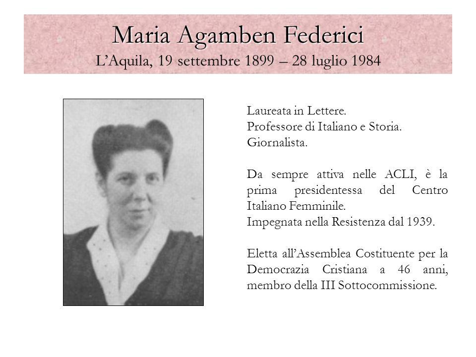Maria Agamben Federici L'Aquila, 19 settembre 1899 – 28 luglio 1984