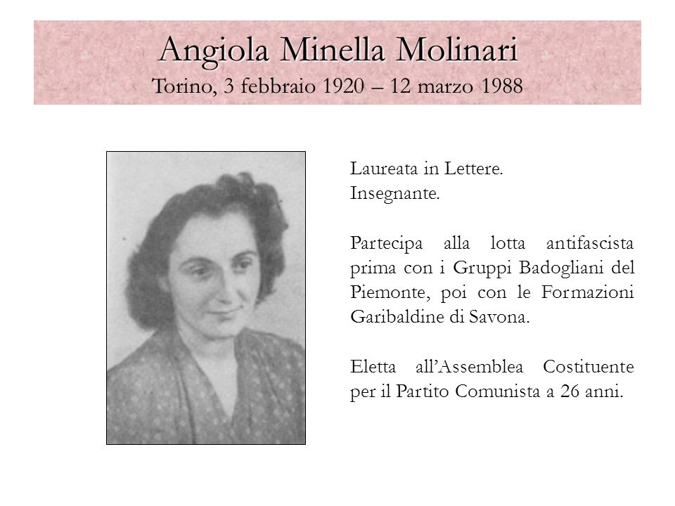 Angiola Minella Molinari Torino, 3 febbraio 1920 – 12 marzo 1988