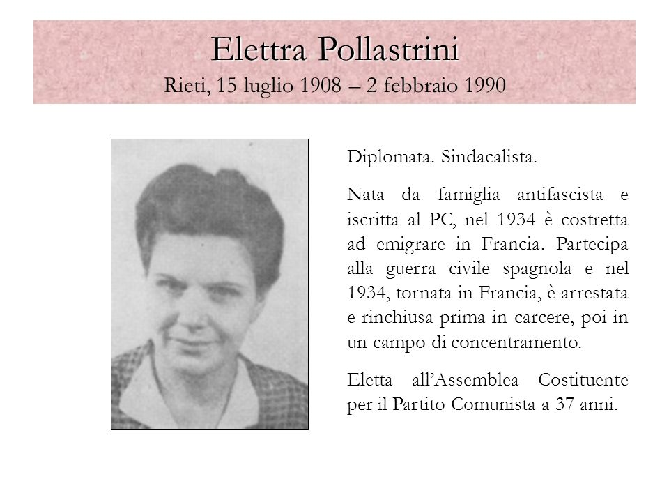 Elettra Pollastrini Rieti, 15 luglio 1908 – 2 febbraio 1990