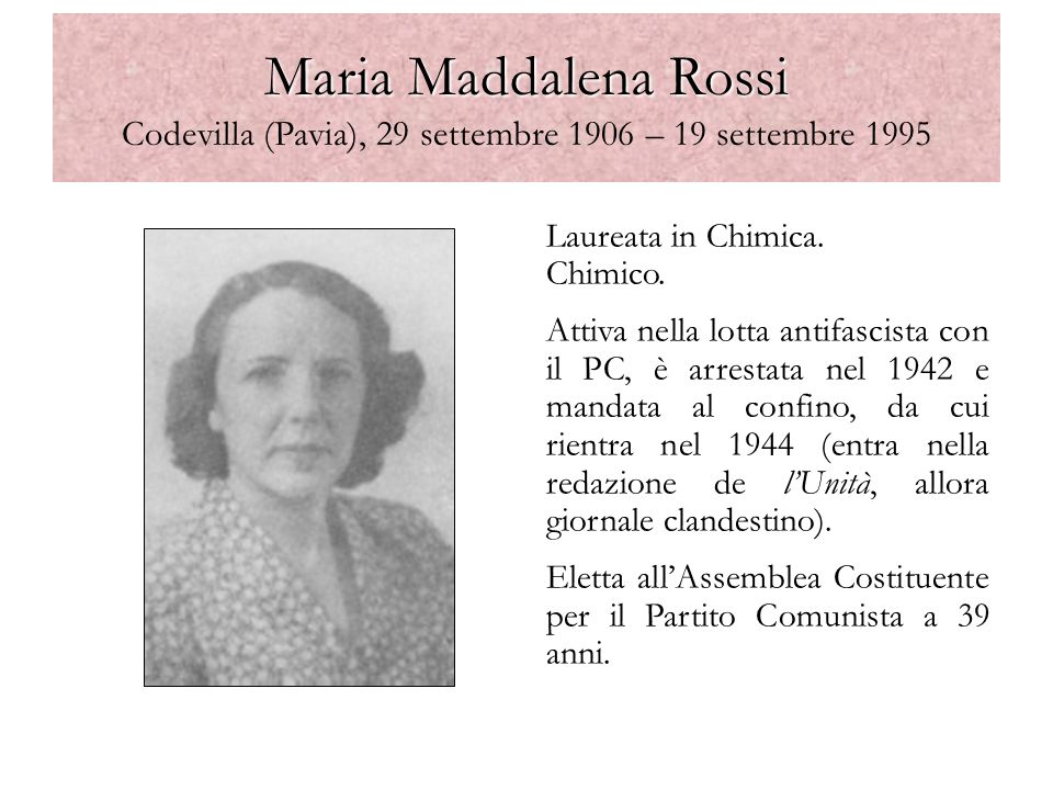 Maria Maddalena Rossi Codevilla (Pavia), 29 settembre 1906 – 19 settembre 1995