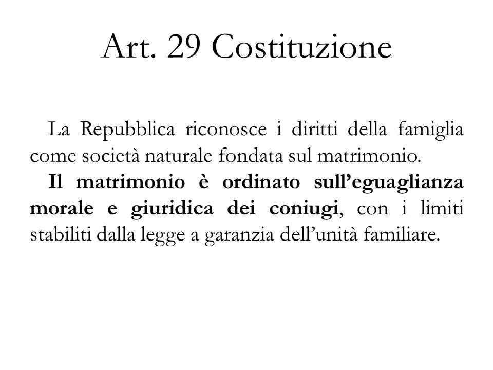 Art. 29 Costituzione La Repubblica riconosce i diritti della famiglia come società naturale fondata sul matrimonio.