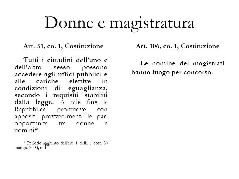 Donne e magistratura Art. 51, co. 1, Costituzione