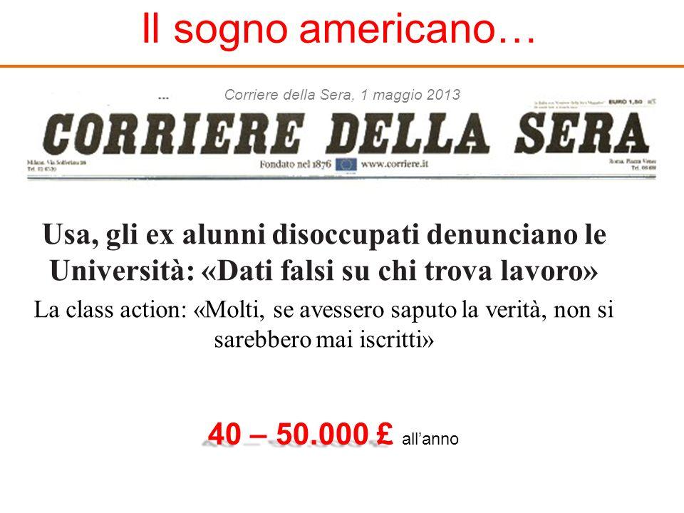Il sogno americano… Corriere della Sera, 1 maggio 2013. Usa, gli ex alunni disoccupati denunciano le Università: «Dati falsi su chi trova lavoro»