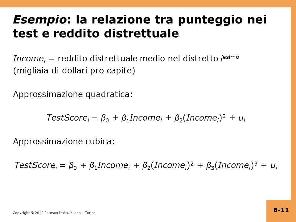 Esempio: la relazione tra punteggio nei test e reddito distrettuale