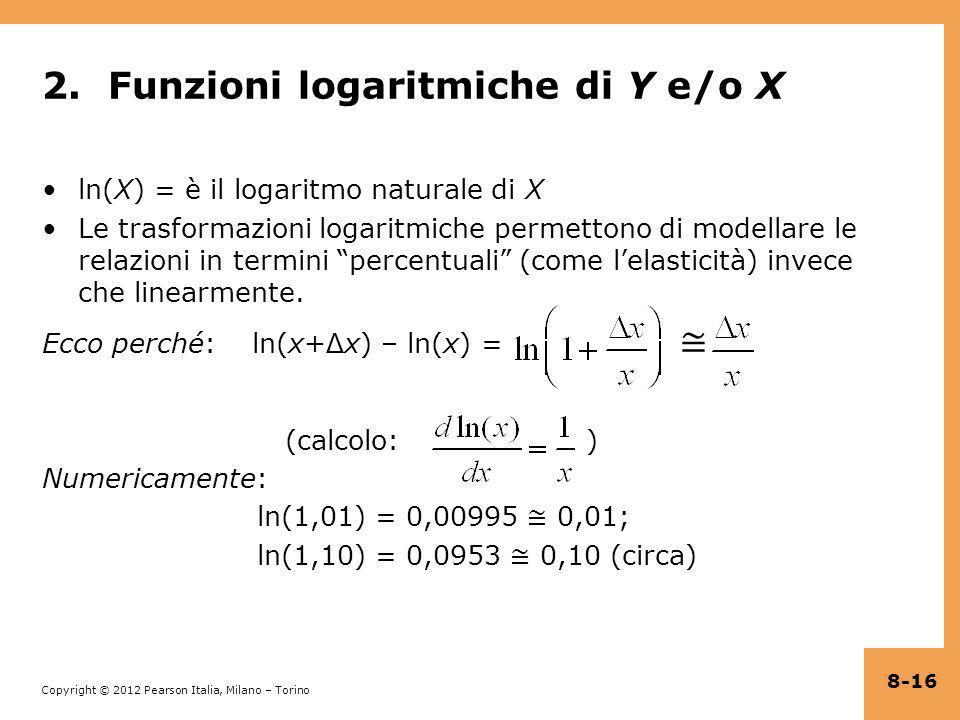 2. Funzioni logaritmiche di Y e/o X
