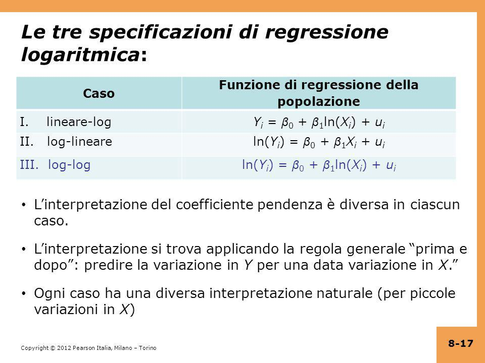 Le tre specificazioni di regressione logaritmica: