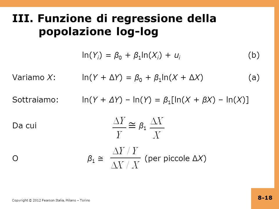 III. Funzione di regressione della popolazione log-log