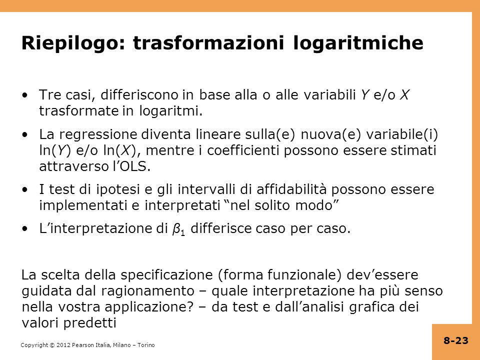 Riepilogo: trasformazioni logaritmiche