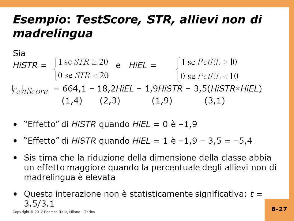 Esempio: TestScore, STR, allievi non di madrelingua