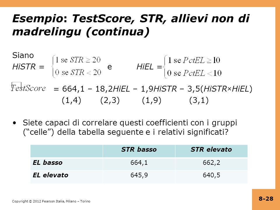 Esempio: TestScore, STR, allievi non di madrelingu (continua)