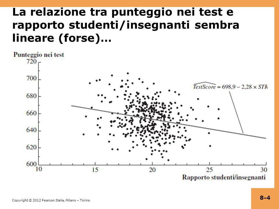 La relazione tra punteggio nei test e rapporto studenti/insegnanti sembra lineare (forse)…