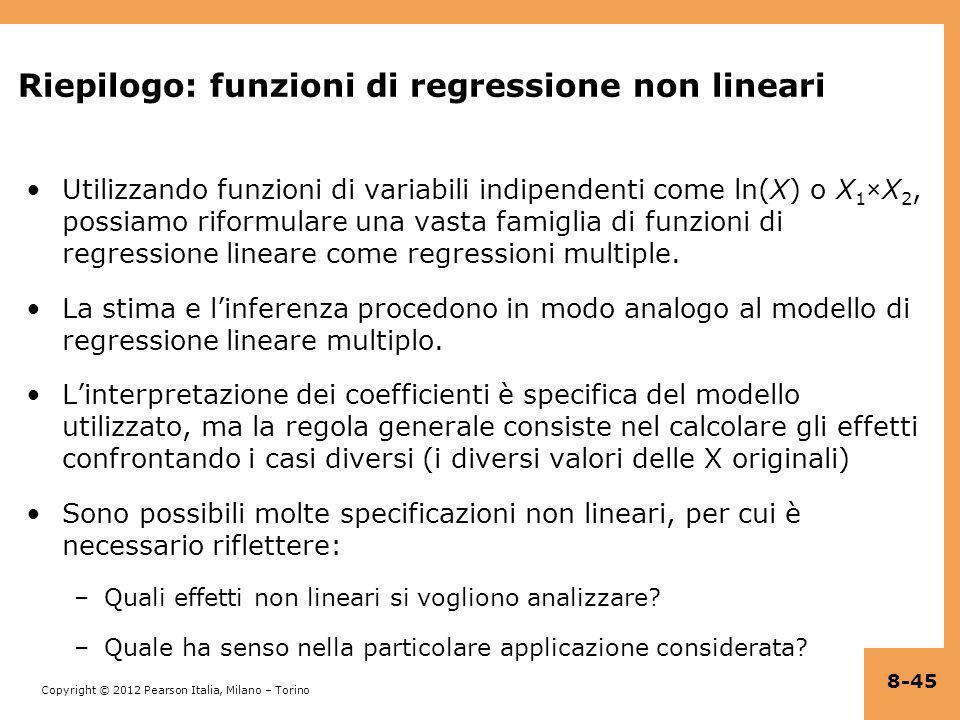 Riepilogo: funzioni di regressione non lineari