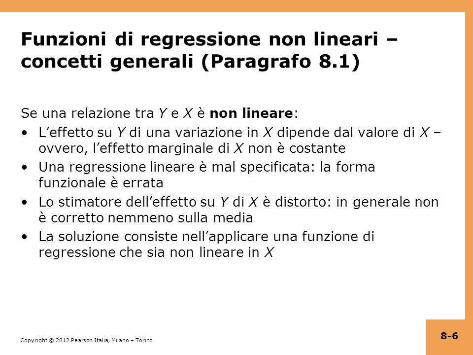 Funzioni di regressione non lineari – concetti generali (Paragrafo 8