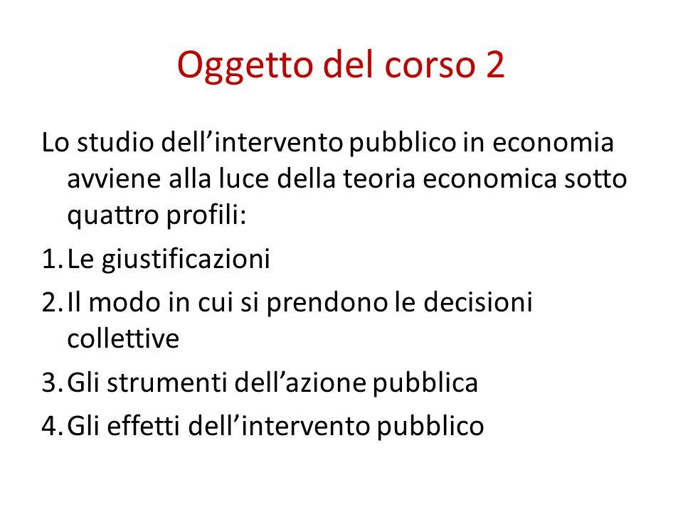 Oggetto del corso 2 Lo studio dell'intervento pubblico in economia avviene alla luce della teoria economica sotto quattro profili: