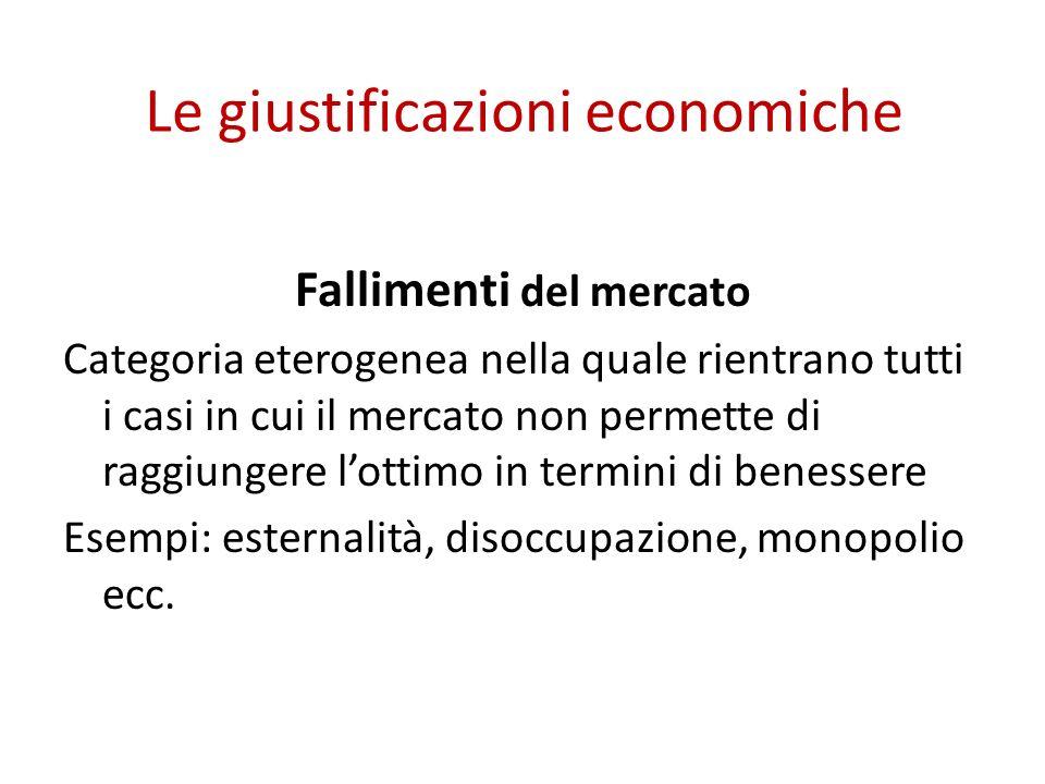 Le giustificazioni economiche