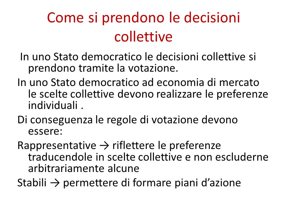 Come si prendono le decisioni collettive