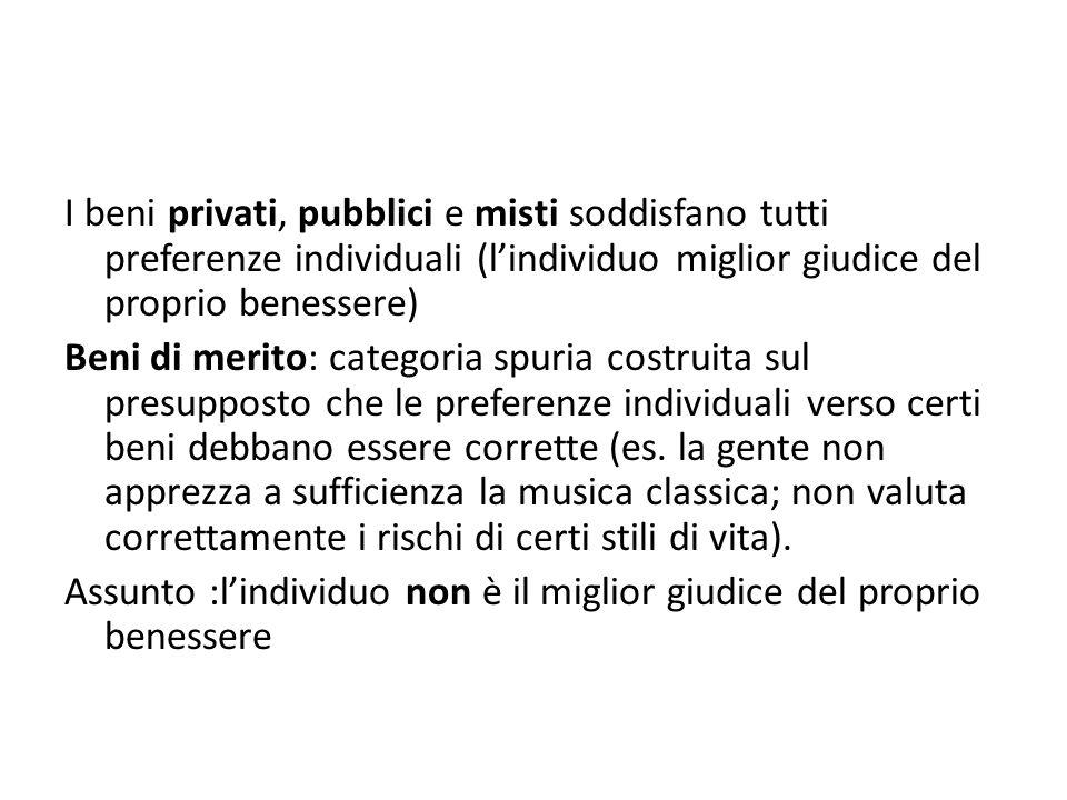 I beni privati, pubblici e misti soddisfano tutti preferenze individuali (l'individuo miglior giudice del proprio benessere)
