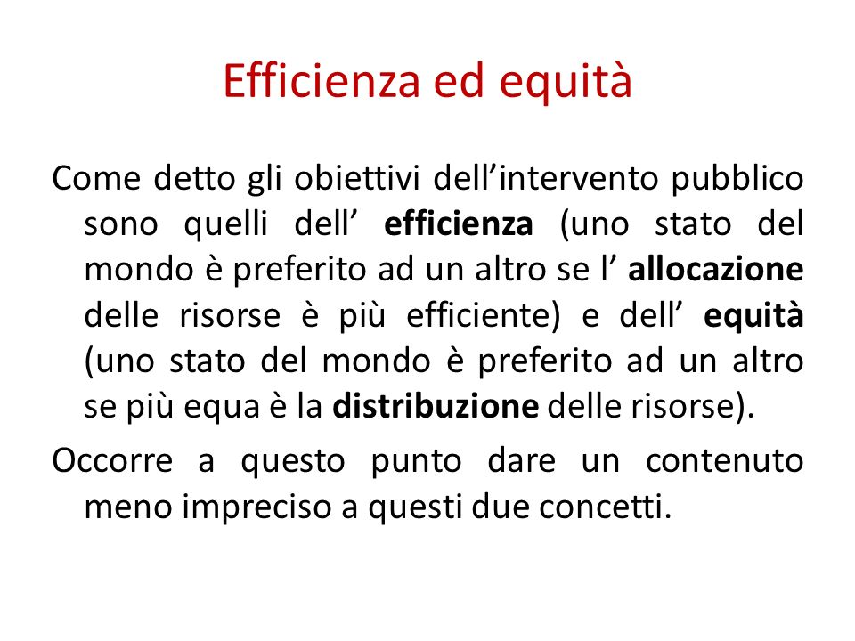 Efficienza ed equità